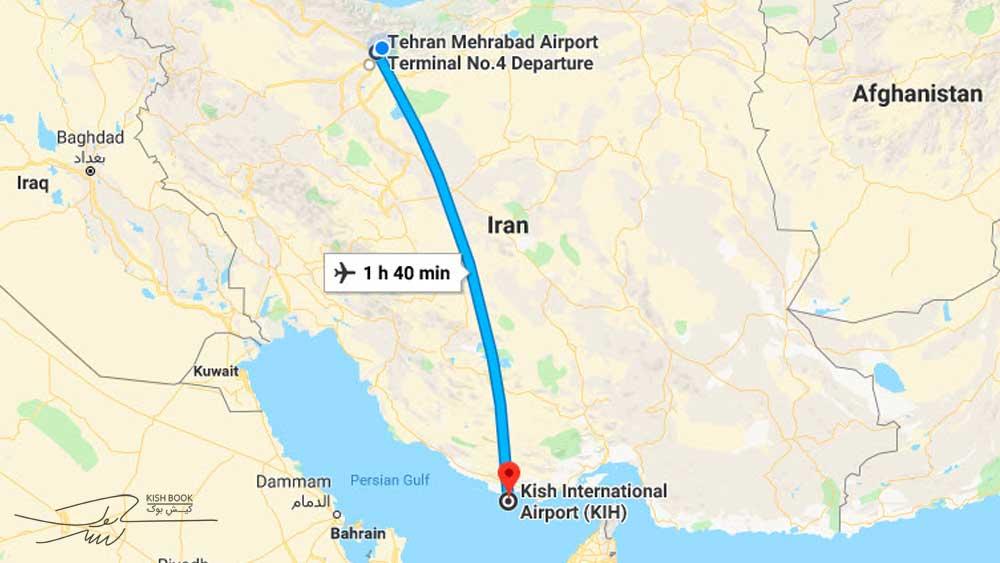 مسیر هوایی تهران به کیش