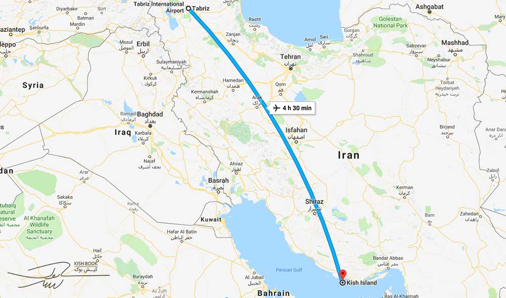 فاصله هوایی کیش تا تبریز