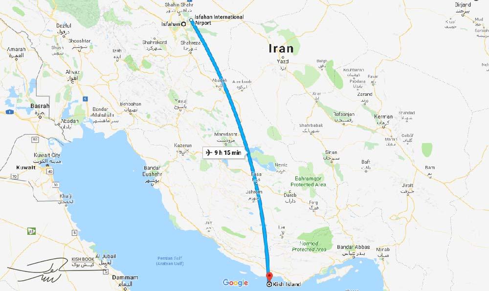 فاصله اصفهان تا کیش