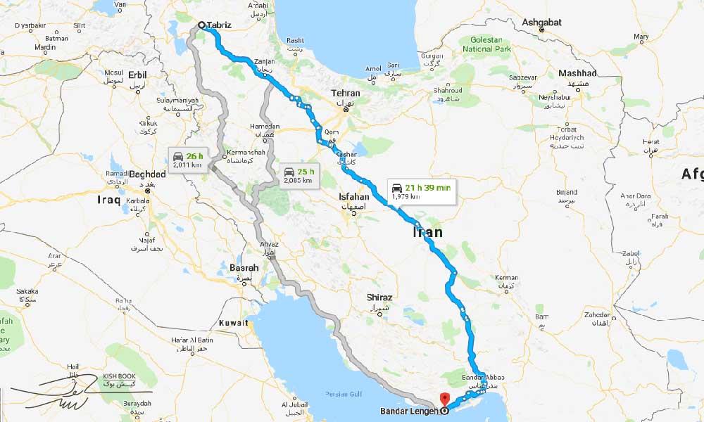 مسیر سفر زمینی از تبریز به کیش