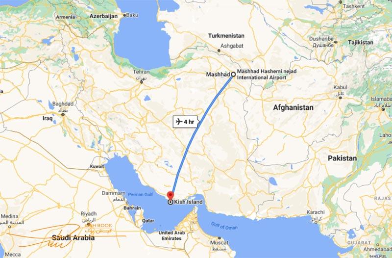 تور کیش از مشهد مسیر پروازی از مشهد به کیش